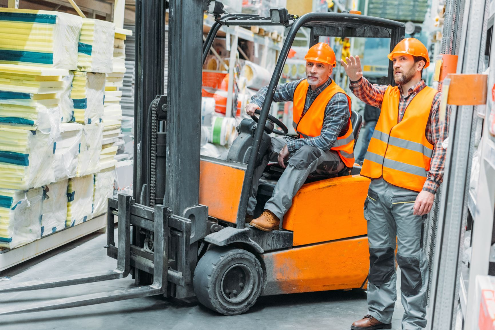Forklift with driver